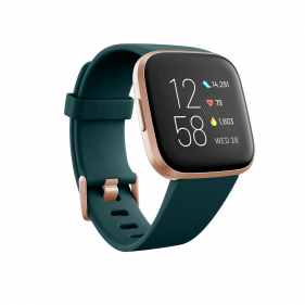 Fitbit Versa 2 (NFC), Health and Fitness Smartwatch with Heart Rate- Emerald/Copper Rose Aluminum