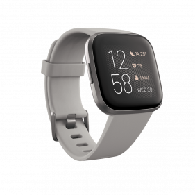 Fitbit Versa 2 (NFC), Health and Fitness Smartwatch with Heart Rate-Stone/Mist Grey Aluminum